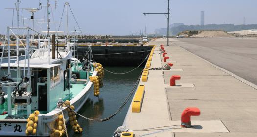写真:富岡町海岸の防潮堤、漁港、防災林、富岡川河川堤防