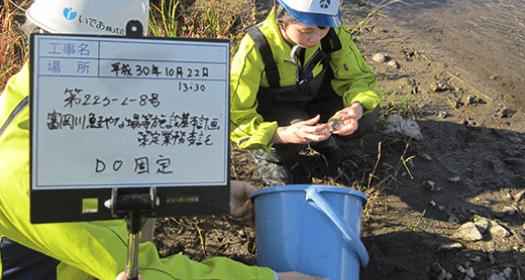 写真:河川水質調査