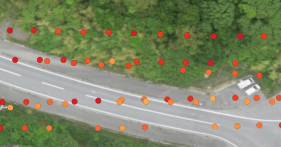 写真:空間線量計測データ
