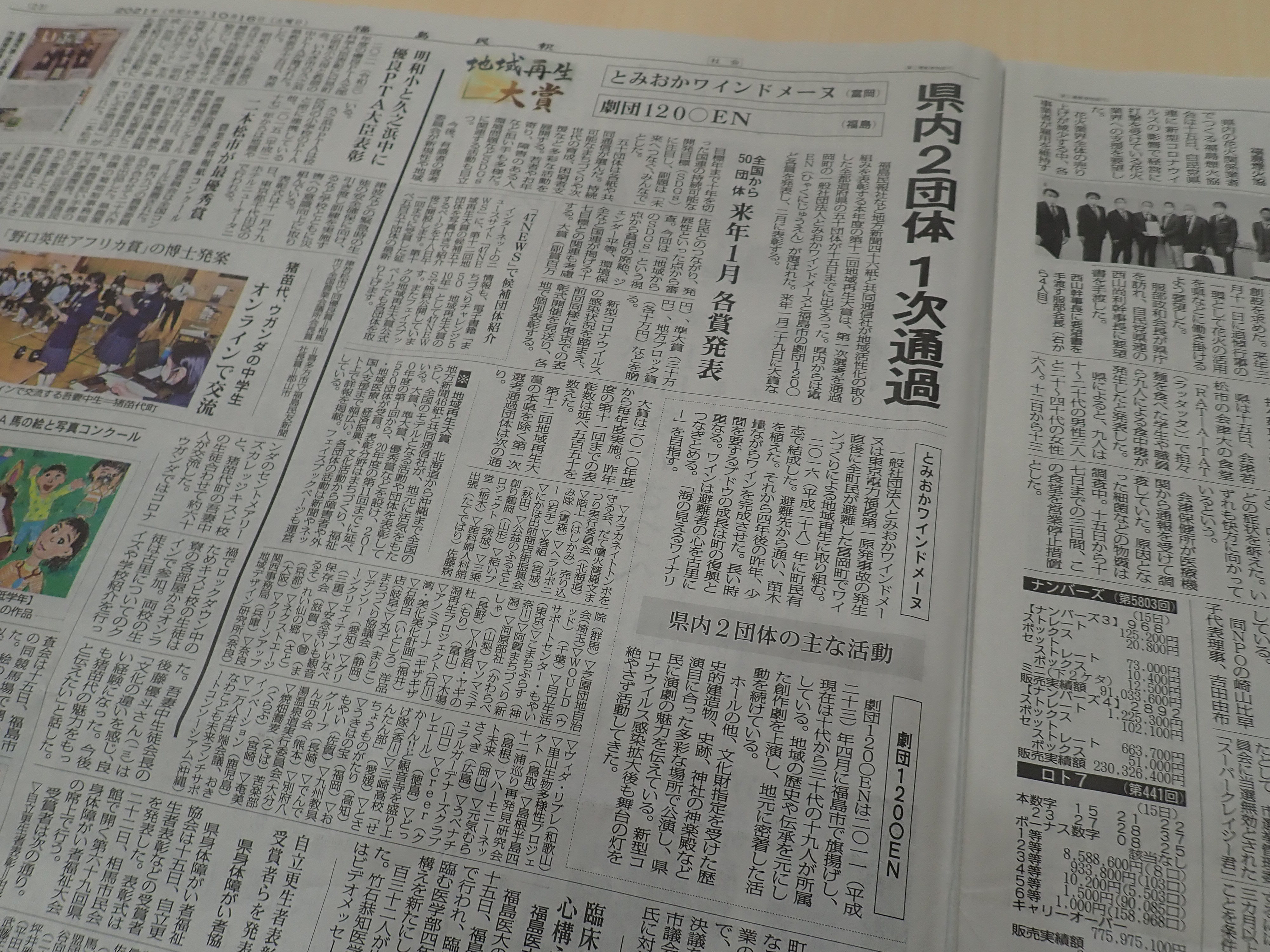 【メディア掲載】地域再生大賞の県代表に選定されましたの画像